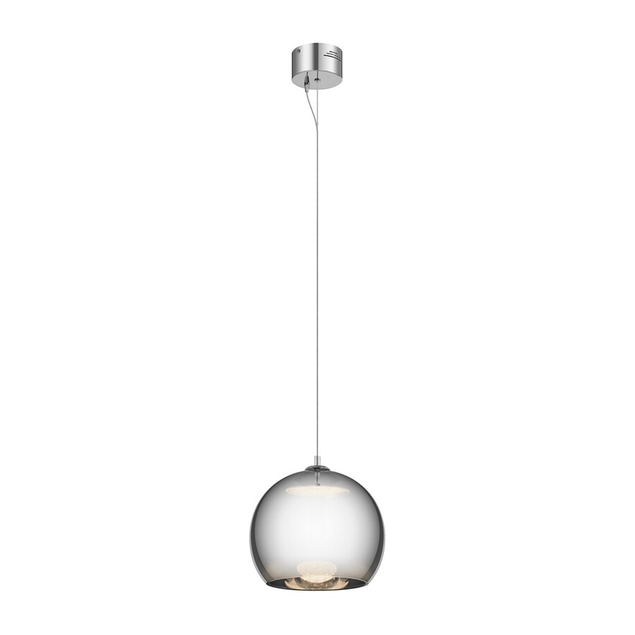 Elan Rendo 11.81-in Chrome Tinted Glass Orb LED Pendant