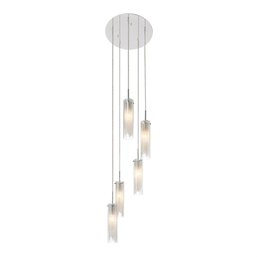 Elan Krysalis 15.35-in Chrome Hardwired Multi-Light Clear Glass Cylinder Pendant
