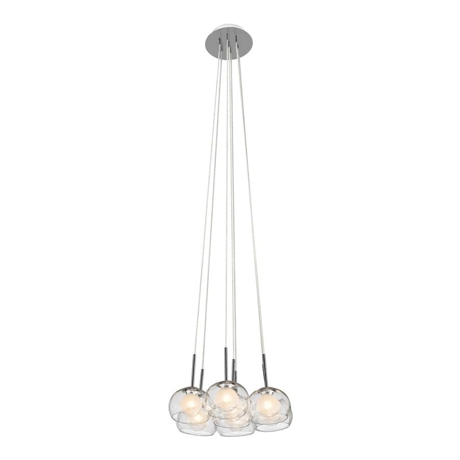 Elan Niu 16.25-in Chrome Hardwired Multi-Light Clear Glass Dome Pendant
