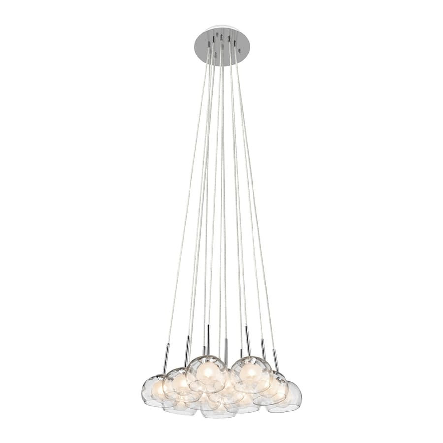 Elan Niu 21.75-in Chrome Hardwired Multi-Light Clear Glass Dome Pendant