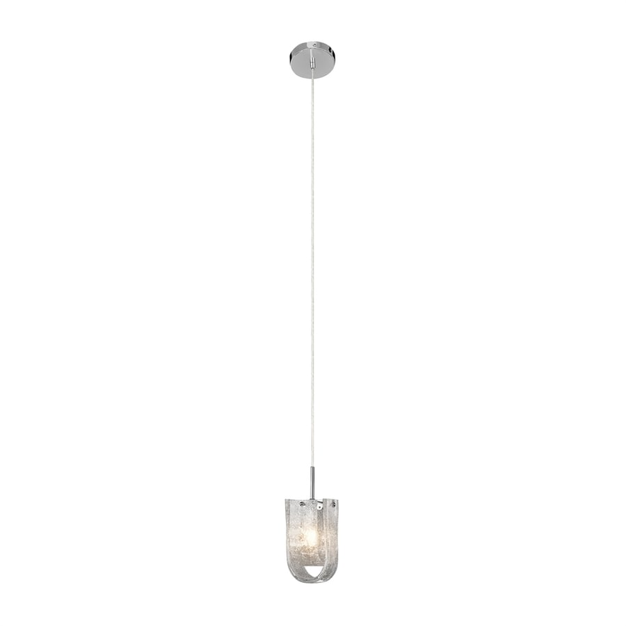 Elan Zanne 3.75-in Chrome Hardwired Single Textured Glass Cylinder Pendant