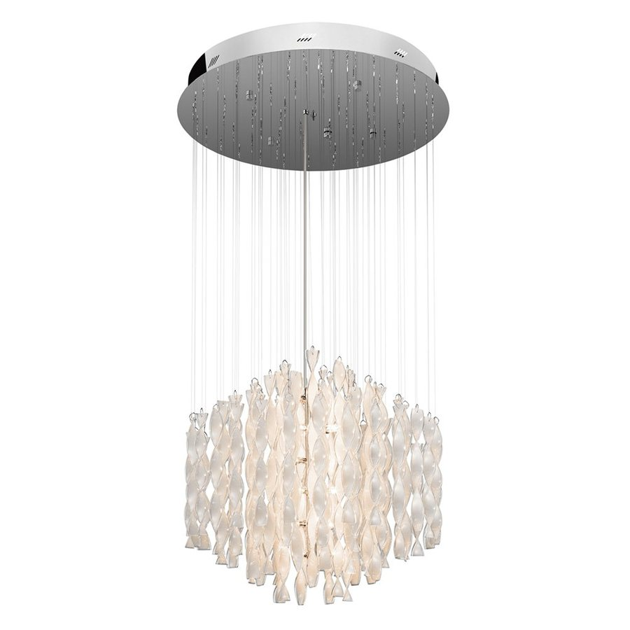 Elan 24.75-in Chrome Crystal Hardwired Multi-Light Clear Glass Pendant