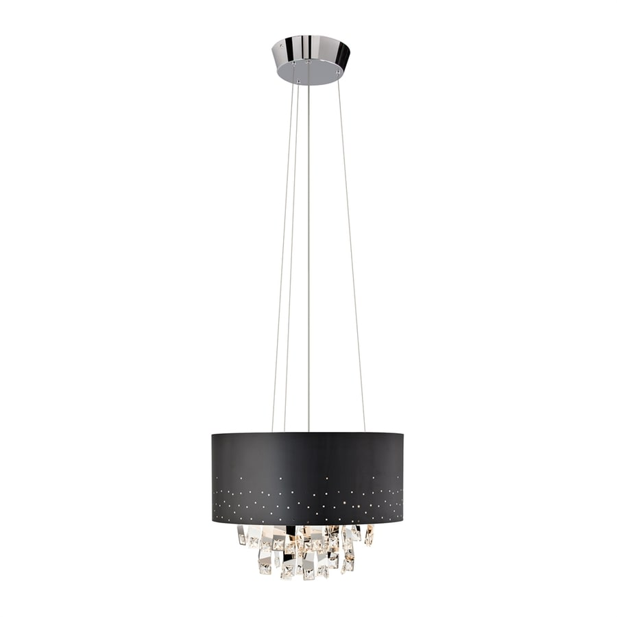 Elan Vallo 17.75-in Chrome Crystal Hardwired Single Drum Pendant