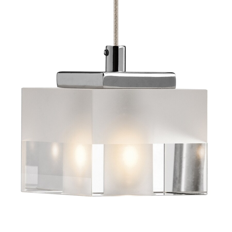 Elan Considine 3.15-in Chrome Hardwired Mini Clear Glass Square Pendant