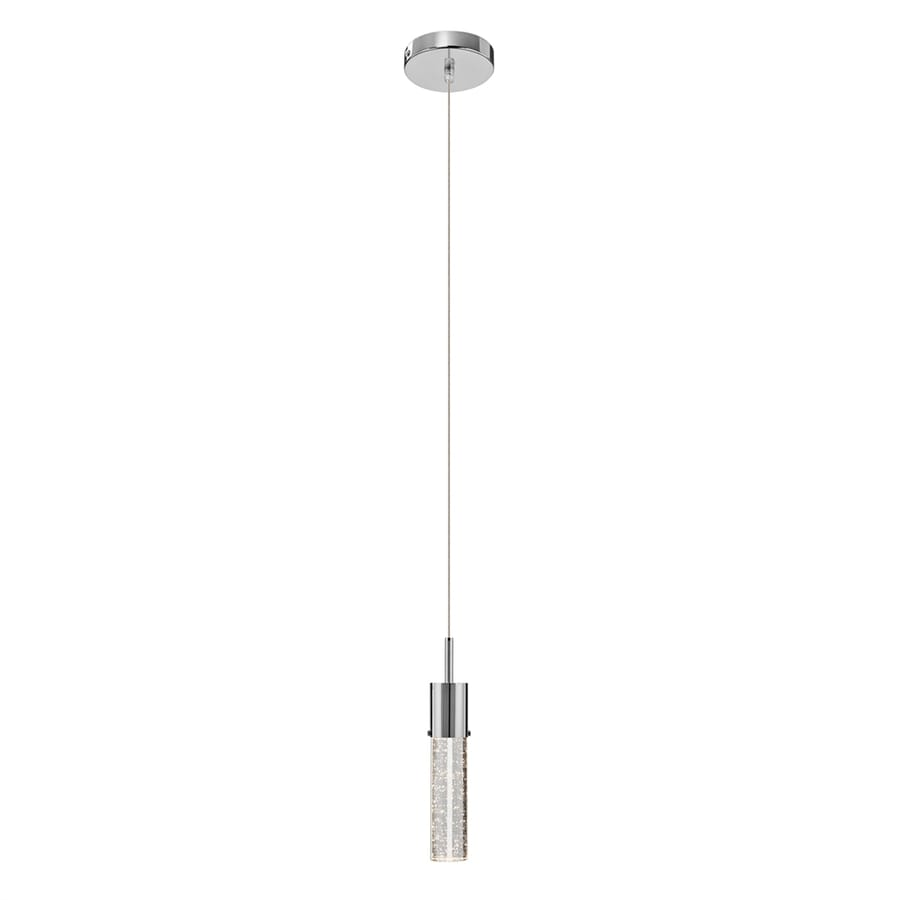 Elan Kristall 2.25-in Chrome Crystal Mini Seeded Glass Cylinder Pendant
