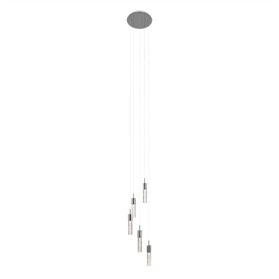 Elan Kristall 12.75-in Chrome Crystal Multi-Light Seeded Glass Cylinder Pendant