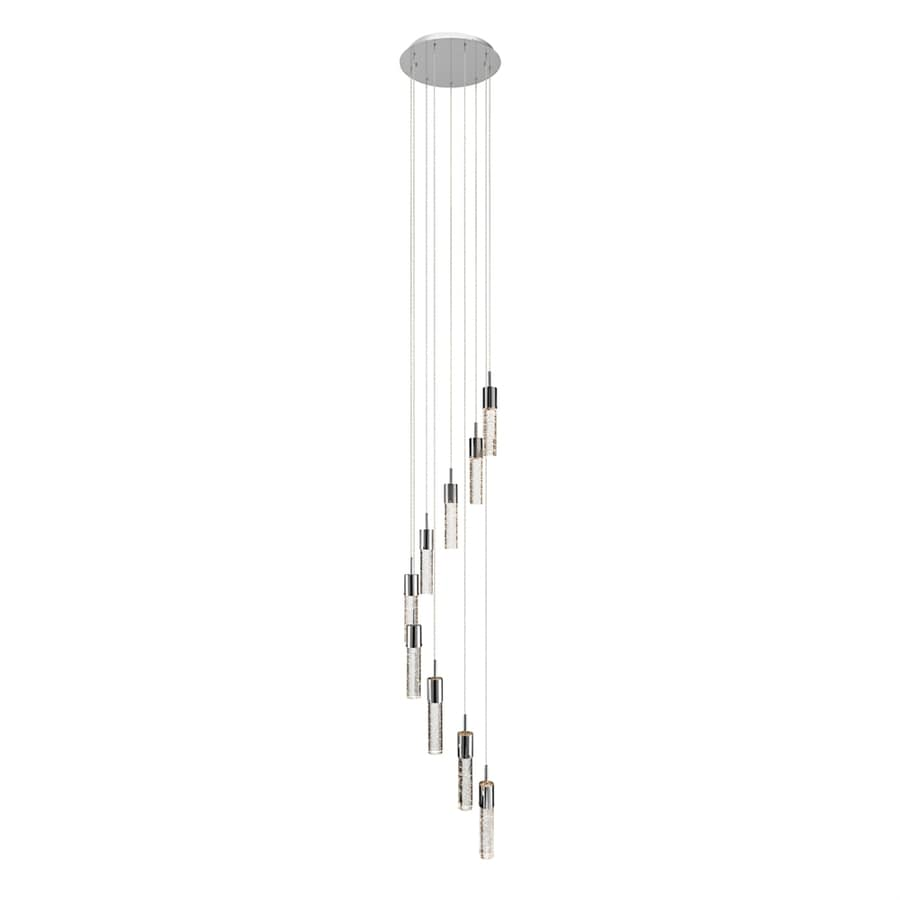 Elan Kristall 14.75-in Chrome Crystal Multi-Light Seeded Glass Cylinder Pendant
