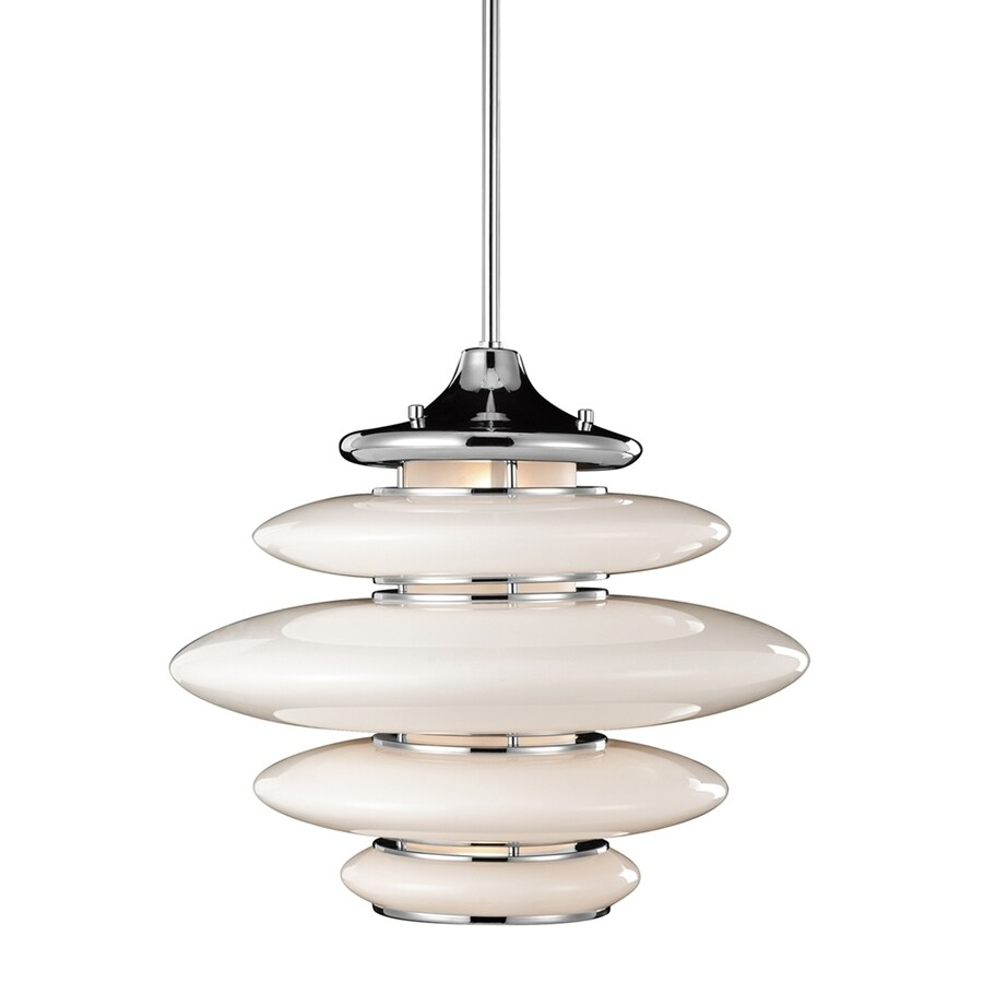 Elan Cumulus 18-in Chrome Hardwired Single Oval Pendant