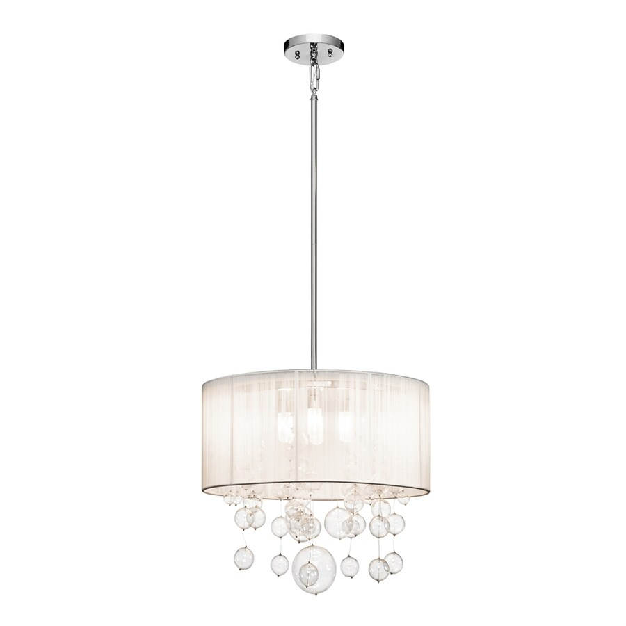Elan Imbuia 18-in Chrome Hardwired Single Clear Glass Drum Pendant