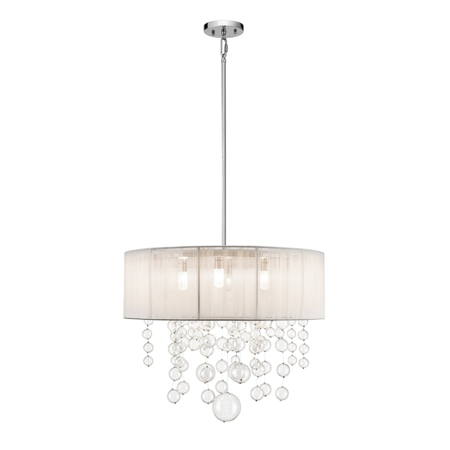Elan Imbuia 24-in Chrome Hardwired Single Clear Glass Drum Pendant