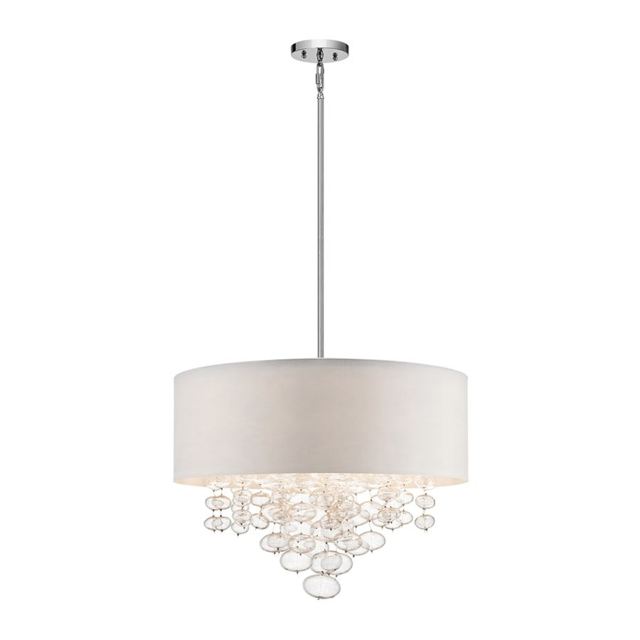 Elan Piatt 24-in Chrome Hardwired Single Clear Glass Drum Pendant