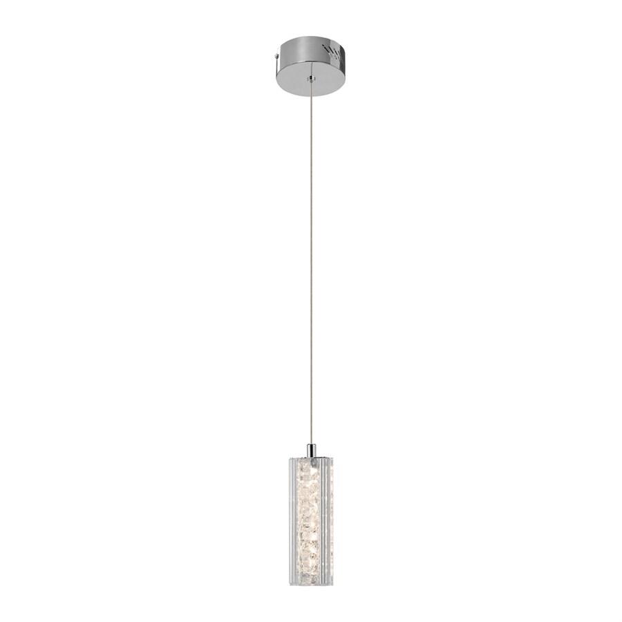 Elan Neruda 2.36-in Chrome Crystal Mini Crystal Cylinder LED Pendant