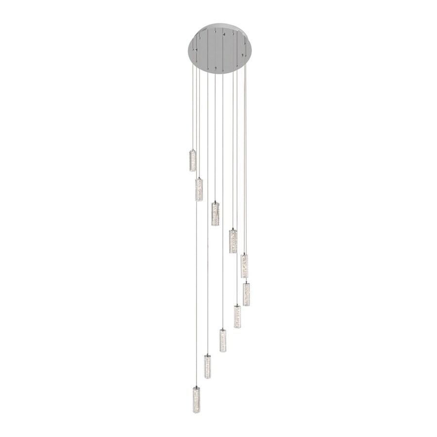 Elan Neruda 19.69-in Chrome Crystal Multi-Light Crystal Cylinder LED Pendant