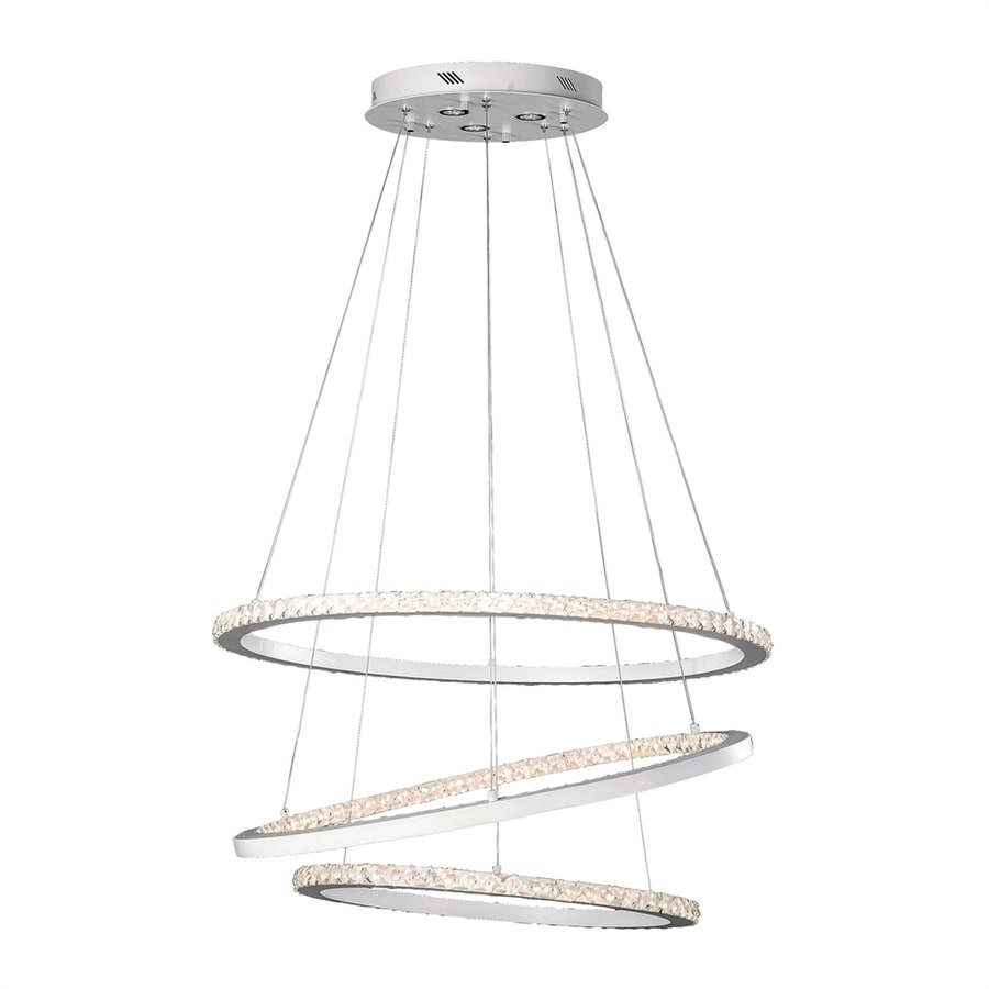 Elan Allos 35.43-in Flat White Crystal Oval LED Pendant