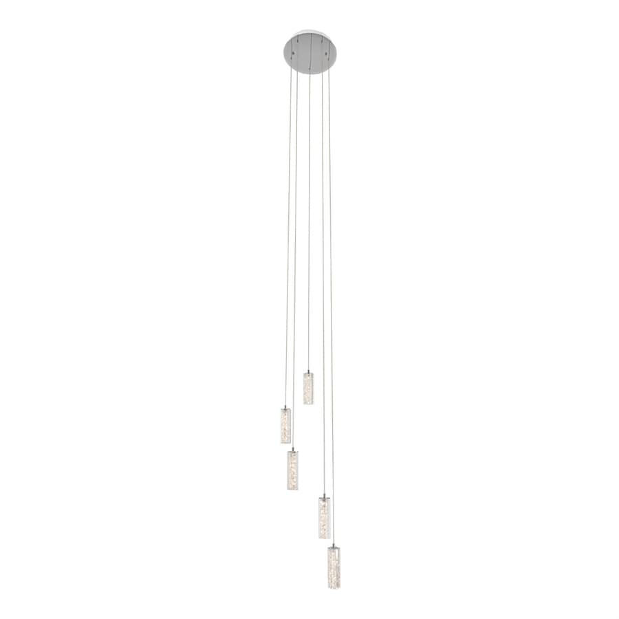 Elan Neruda 11.93-in Chrome Crystal Multi-Light Crystal Cylinder LED Pendant
