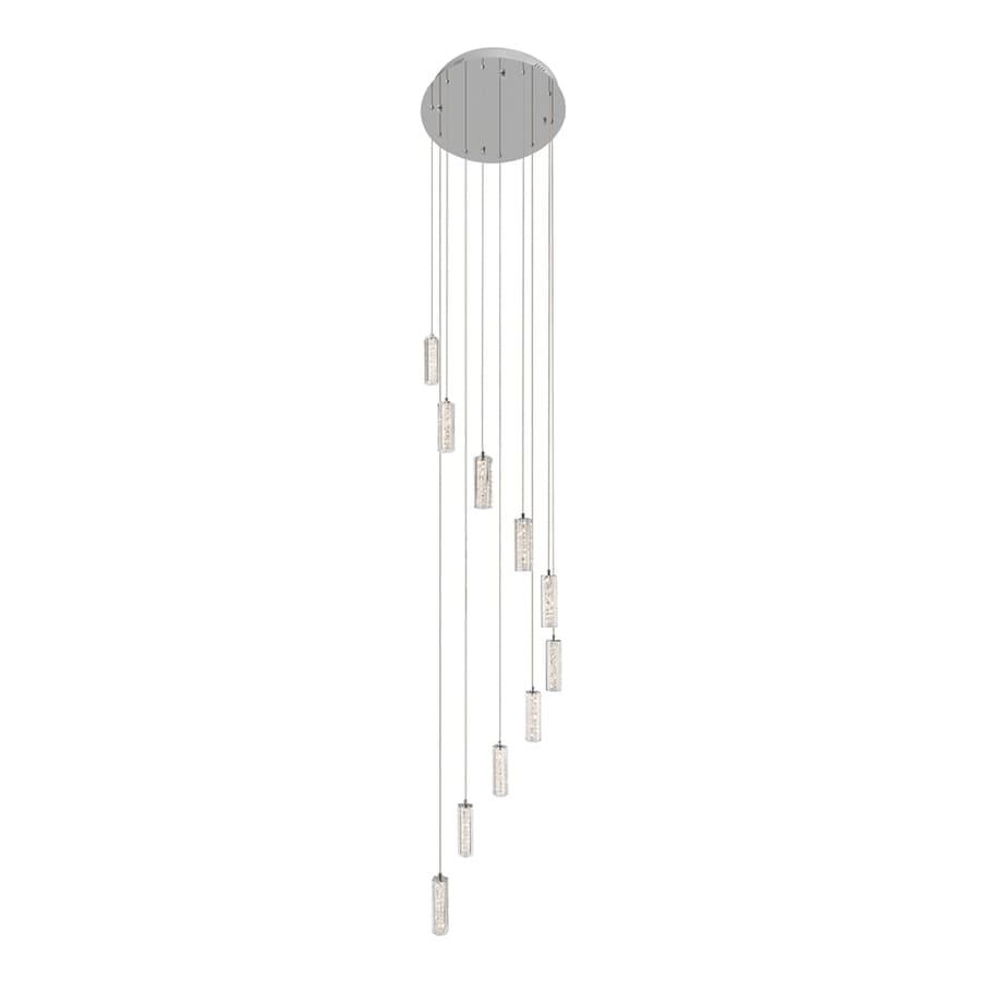 Elan Neruda 19.69-in Chrome Hardwired Multi-Light Crystal Cylinder Pendant