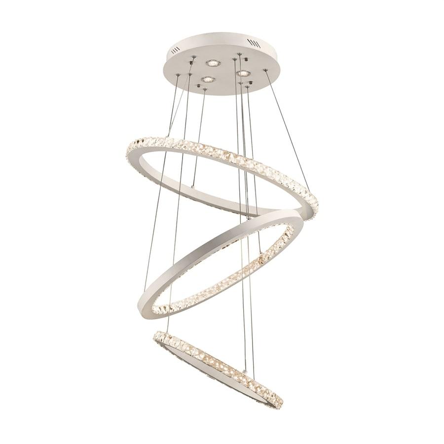 Elan Allos 25.59-in Flat White Crystal Hardwired Single Oval Pendant