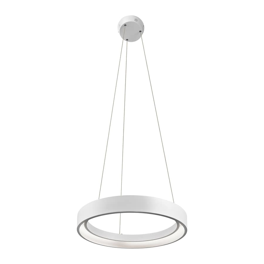 Elan Fornello 17.72-in Sand Textured White Oval LED Pendant