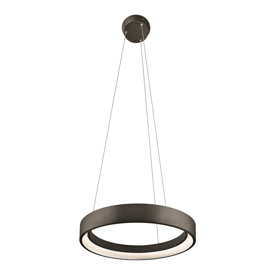 Elan Fornello 17.72-in Sand Textured Black Oval LED Pendant