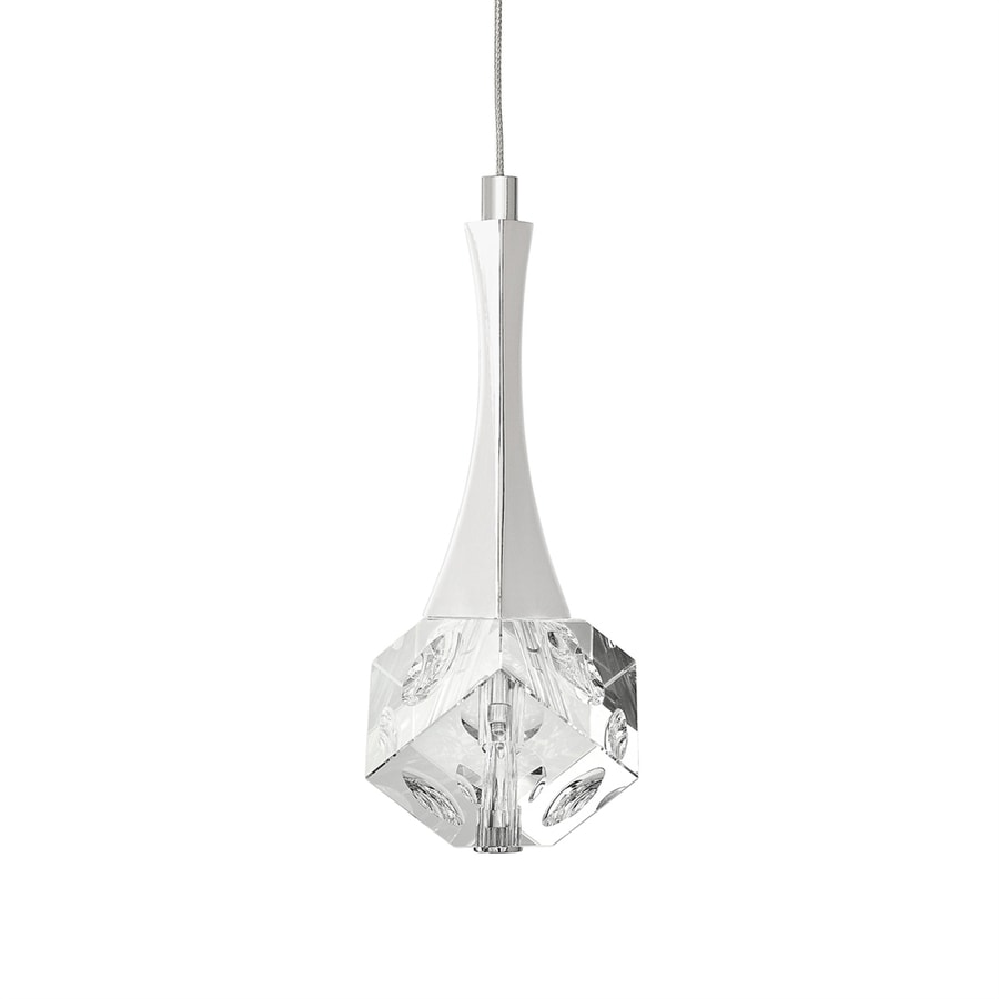 Elan Rockne 4.13-in Chrome Crystal Mini Clear Glass Square LED Pendant