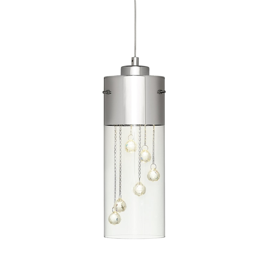 Elan Shayla 3.94-in Chrome Crystal Mini Clear Glass Cylinder LED Pendant
