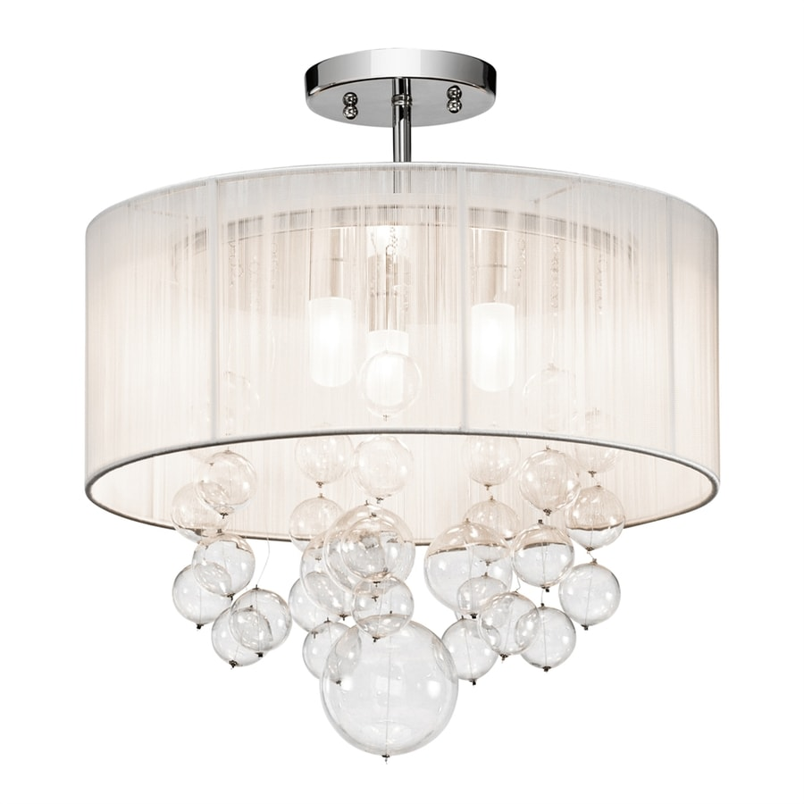 Elan Imbuia 16-in W Chrome Fabric Semi-Flush Mount Light