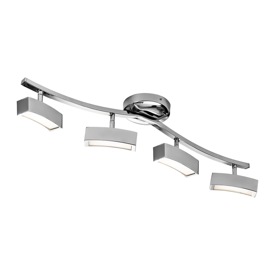 Chrome And Black Track Lighting: Elan Landon 4-Light 32.68-in Chrome Dimmable LED Track Bar