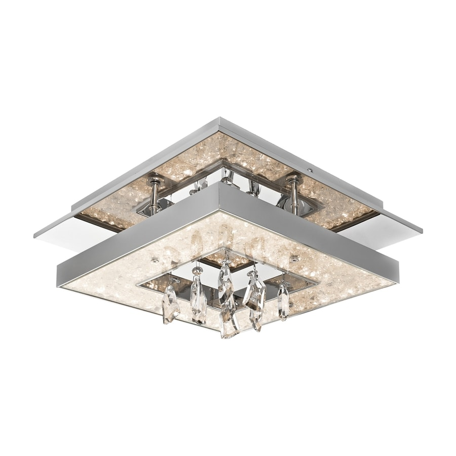 Elan Crushed Ice 13.78-in W Chrome Metal Crystal Accent Semi-Flush Mount Light