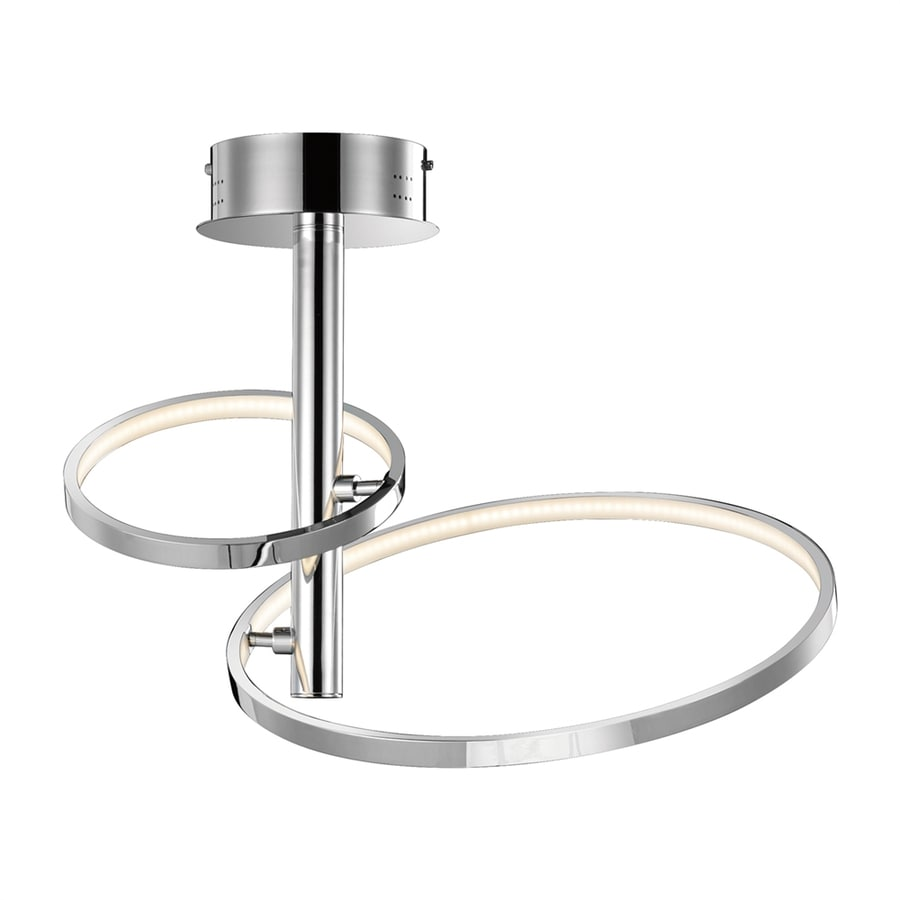 Elan Sirkus 17.72-in W Chrome Acrylic LED Semi-Flush Mount Light