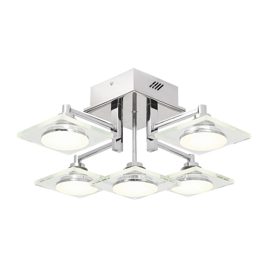 Elan Firosi 18.94-in W Chrome Clear Glass LED Semi-Flush Mount Light