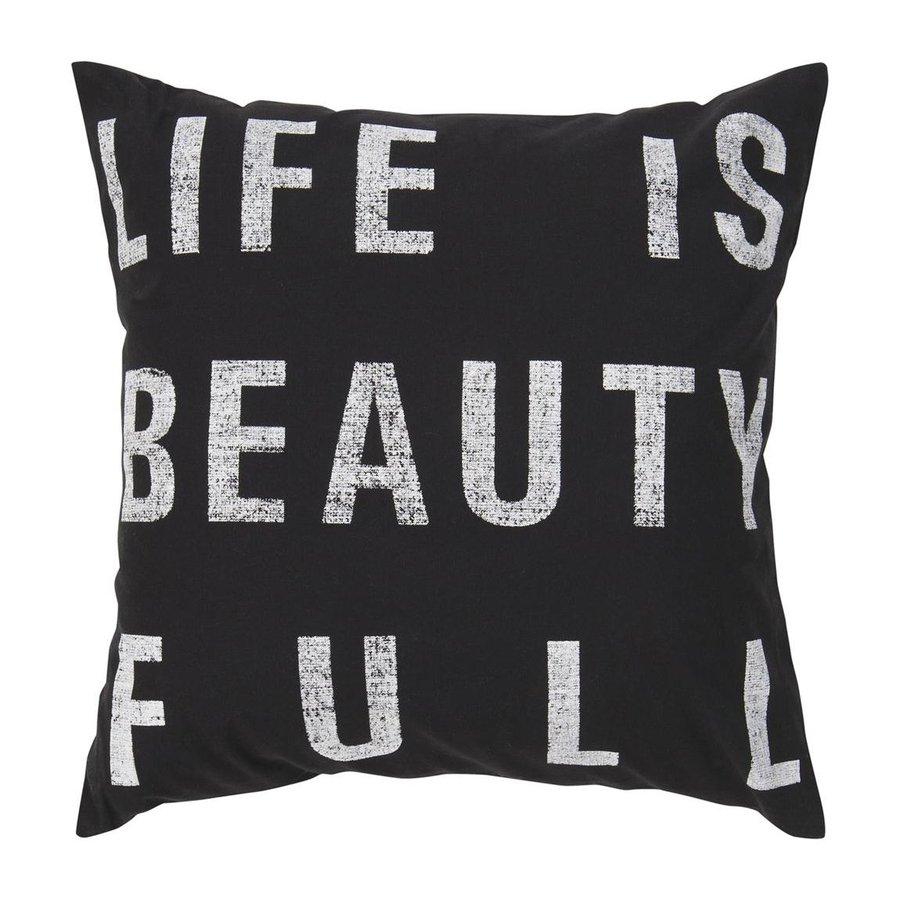 Surya 18-in W x 18-in L Black Square Indoor Decorative Pillow