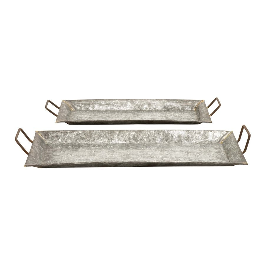 Woodland Imports Set of 2 Galvanized Metal Trays