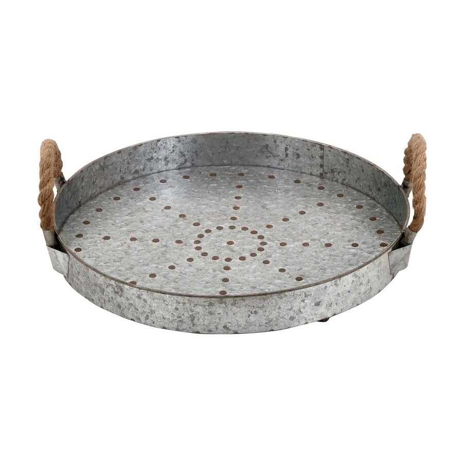 Woodland Imports Galvanized Metal Tray with Rope Handles
