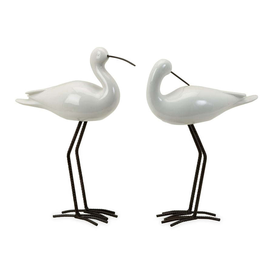 Imax Worldwide Set of 2 Ceramic and Iron Seabird Statues