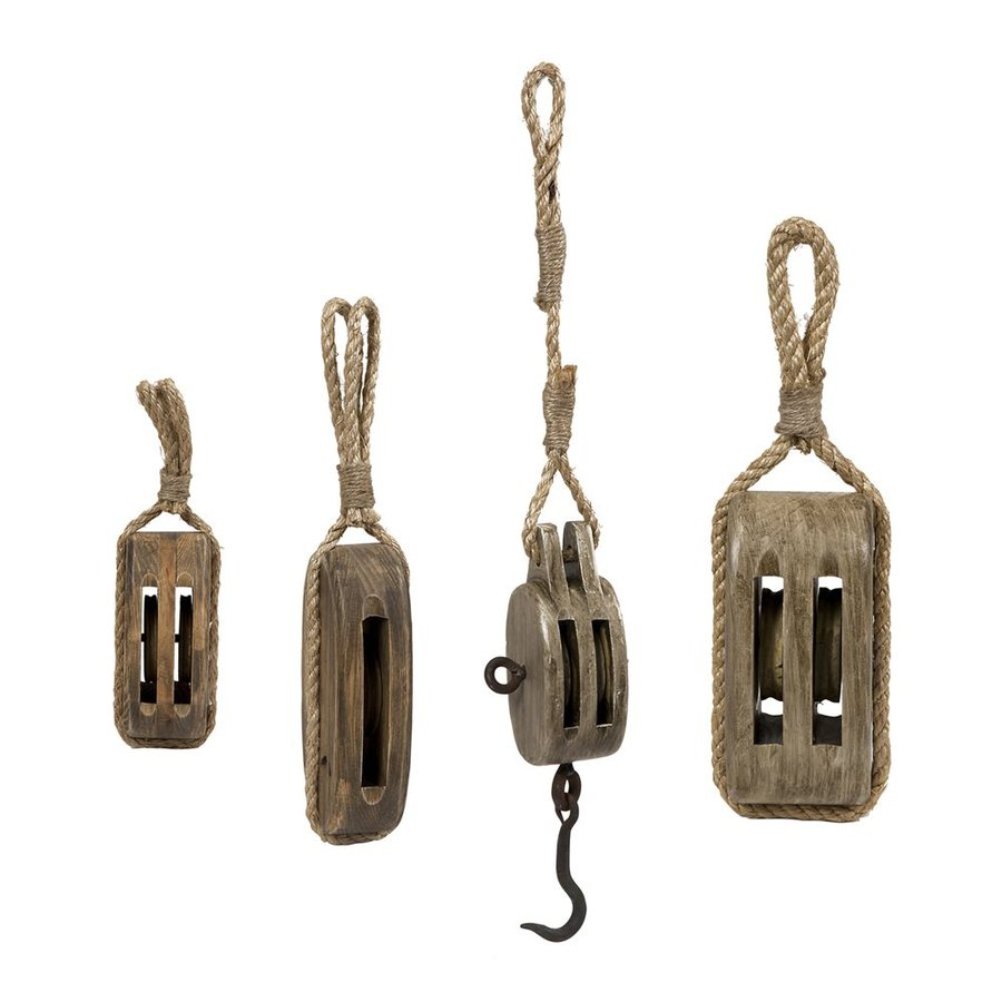 Imax Worldwide 4 Piece Pine And Rope Nautical Pulley Set