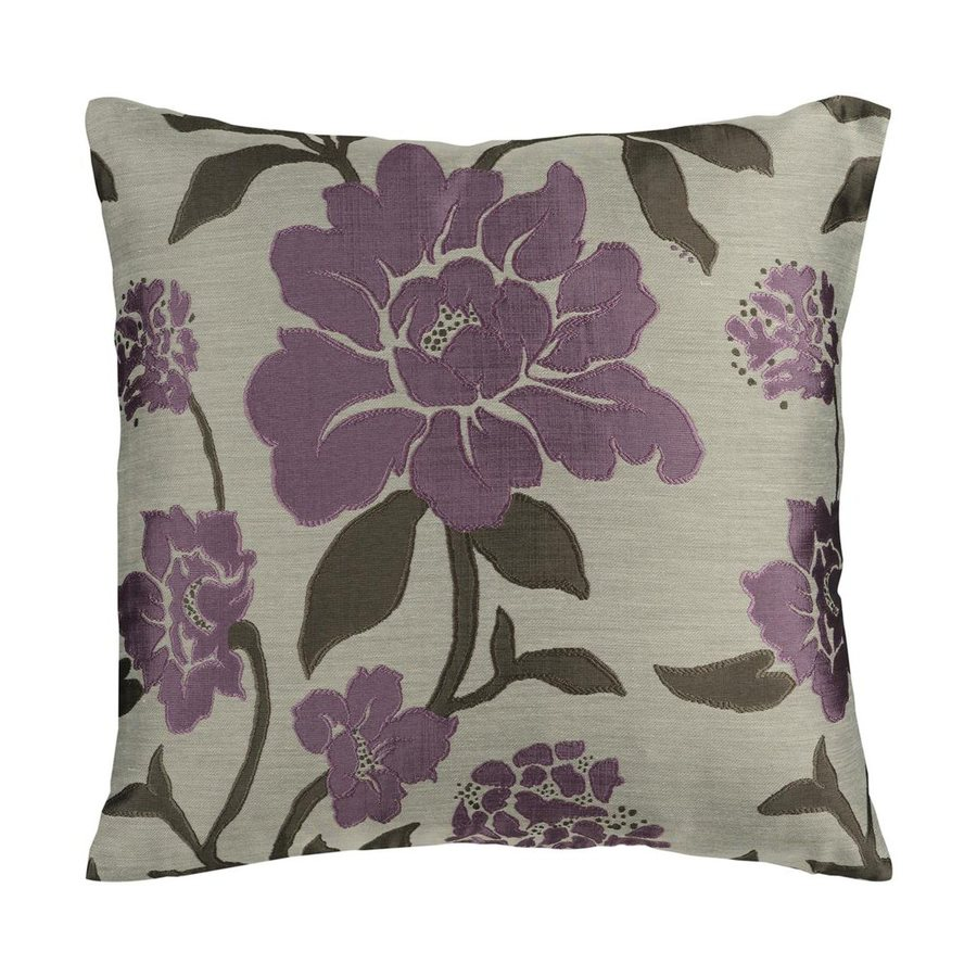Surya 18-in W x 18-in L Taupe and Bright Purple Square Indoor Decorative Pillow