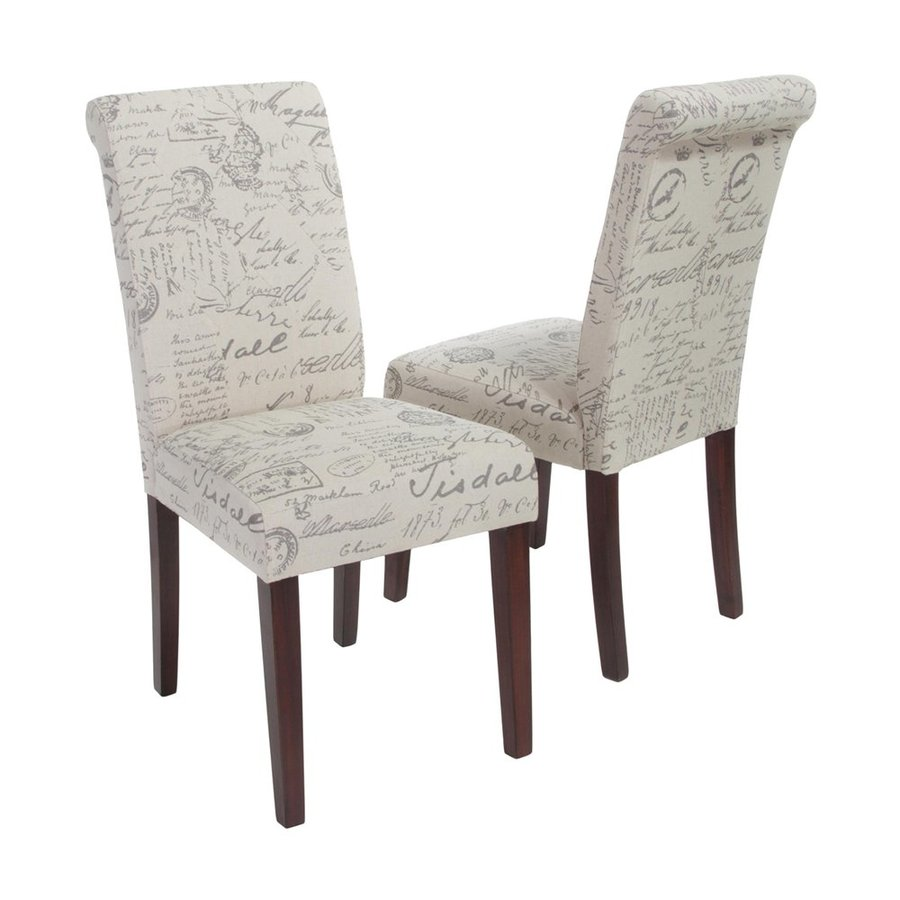 Best Selling Home Decor Set of 2 French Beige French Script Side Chairs