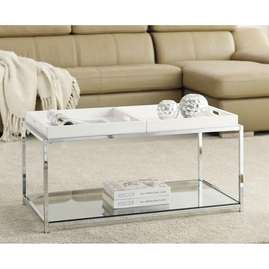 Convenience Concepts Palm Beach White Gl Coffee Table