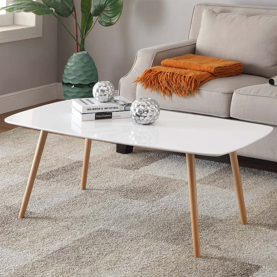 Convenience Concepts Oslo White Rectangular Coffee Table