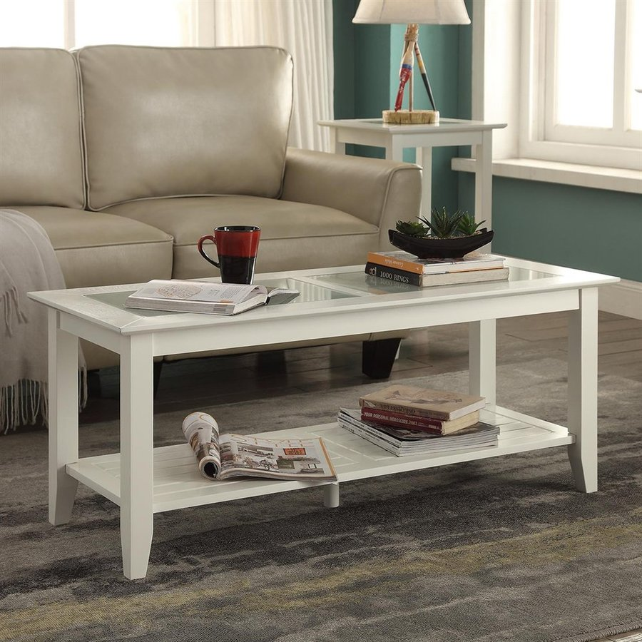 Convenience Concepts Carmel Pine Glass Coffee Table