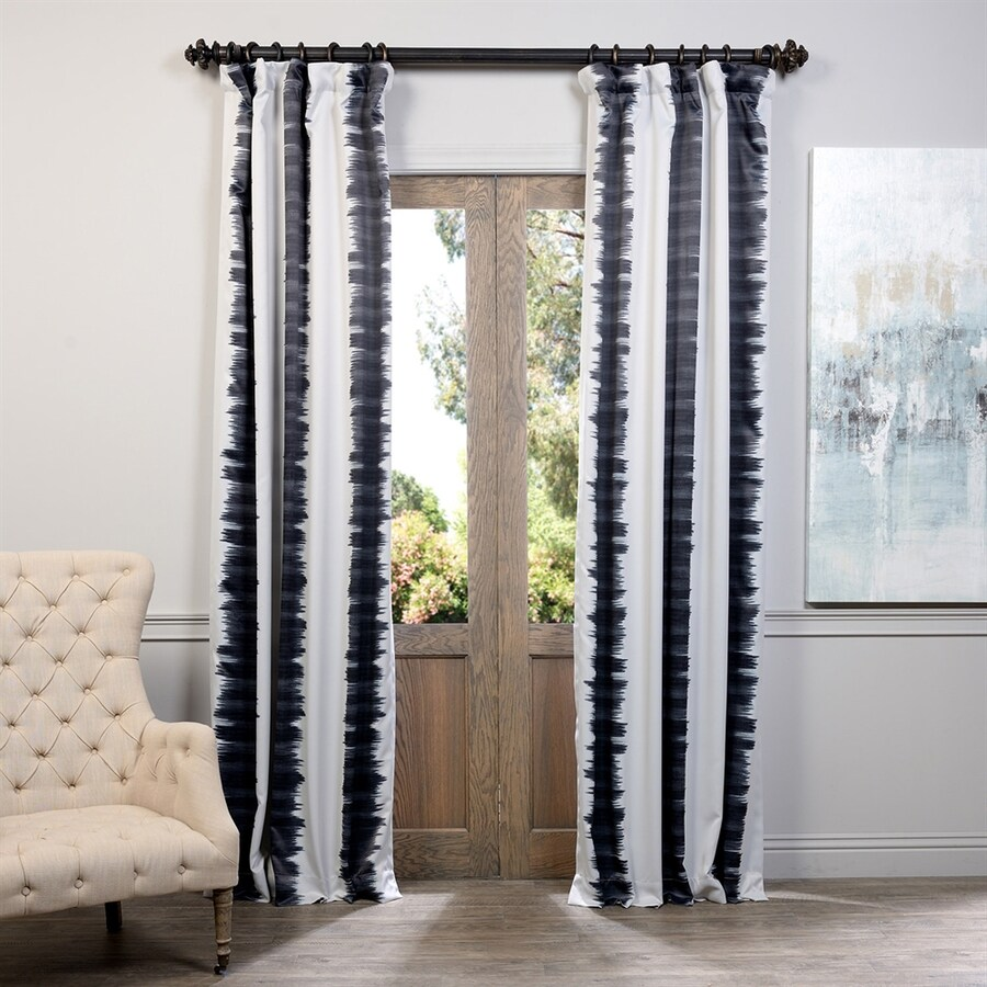 Exclusive Fabrics & Furnishing Flambe 120-in Black Polyester Rod Pocket Blackout Single Curtain Panel