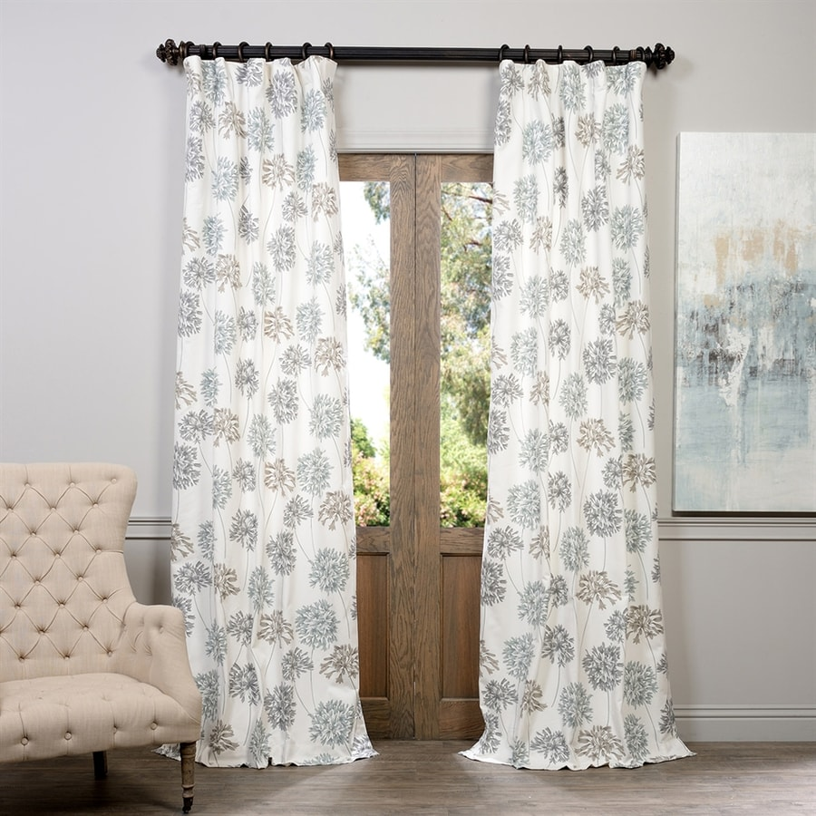 Exclusive Fabrics & Furnishing Allium 120-in Cotton Rod Pocket Light Filtering Standard Lined Single Curtain Panel