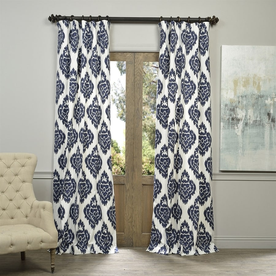 Exclusive Fabrics & Furnishing Ikat 120-in Ikat Blue Cotton Rod Pocket Light Filtering Standard Lined Single Curtain Panel