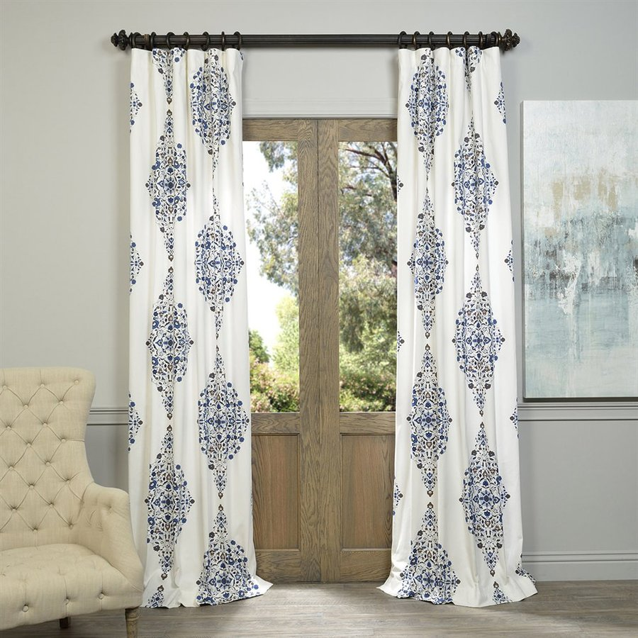 Exclusive Fabrics & Furnishing Kerala 96-in Blue Cotton Rod Pocket Light Filtering Standard Lined Single Curtain Panel