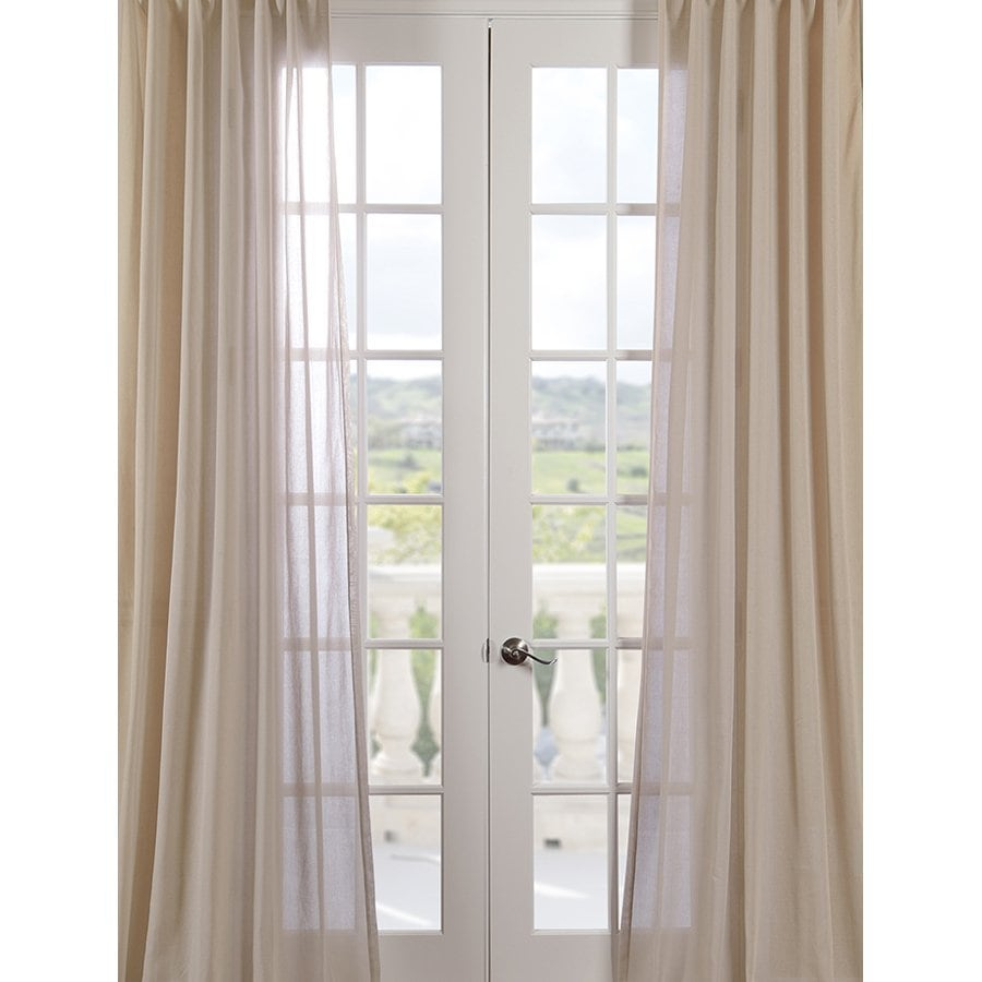 Exclusive Fabrics & Furnishing 84-in Beige Polyester Rod Pocket Sheer Single Curtain Panel