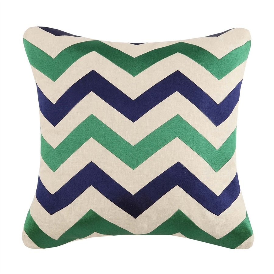 Peking Handicraft 20-in W x 20-in L Emerald/Navy Square Indoor Decorative Pillow