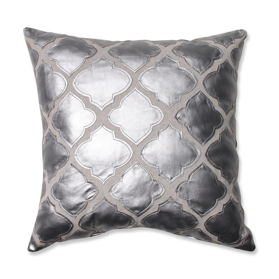 Pillow Perfect 16.5-in W x 16.5-in L Silver Square Indoor Decorative Pillow