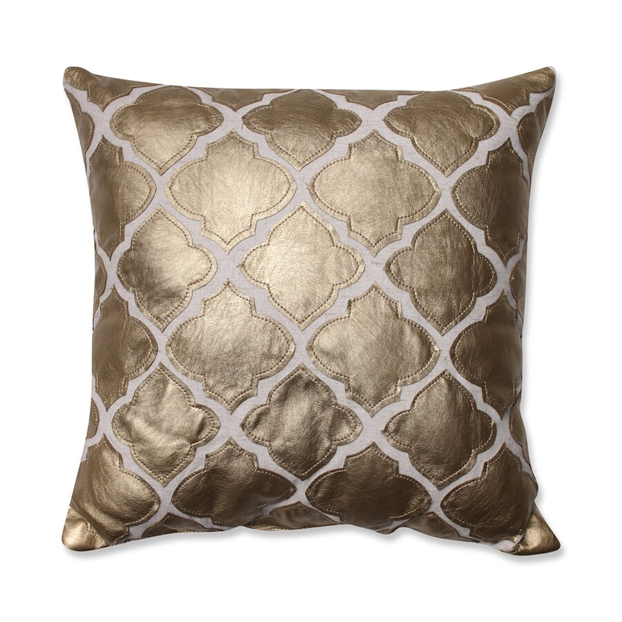Pillow Perfect 16.5-in W x 16.5-in L Gold Indoor Decorative Pillow