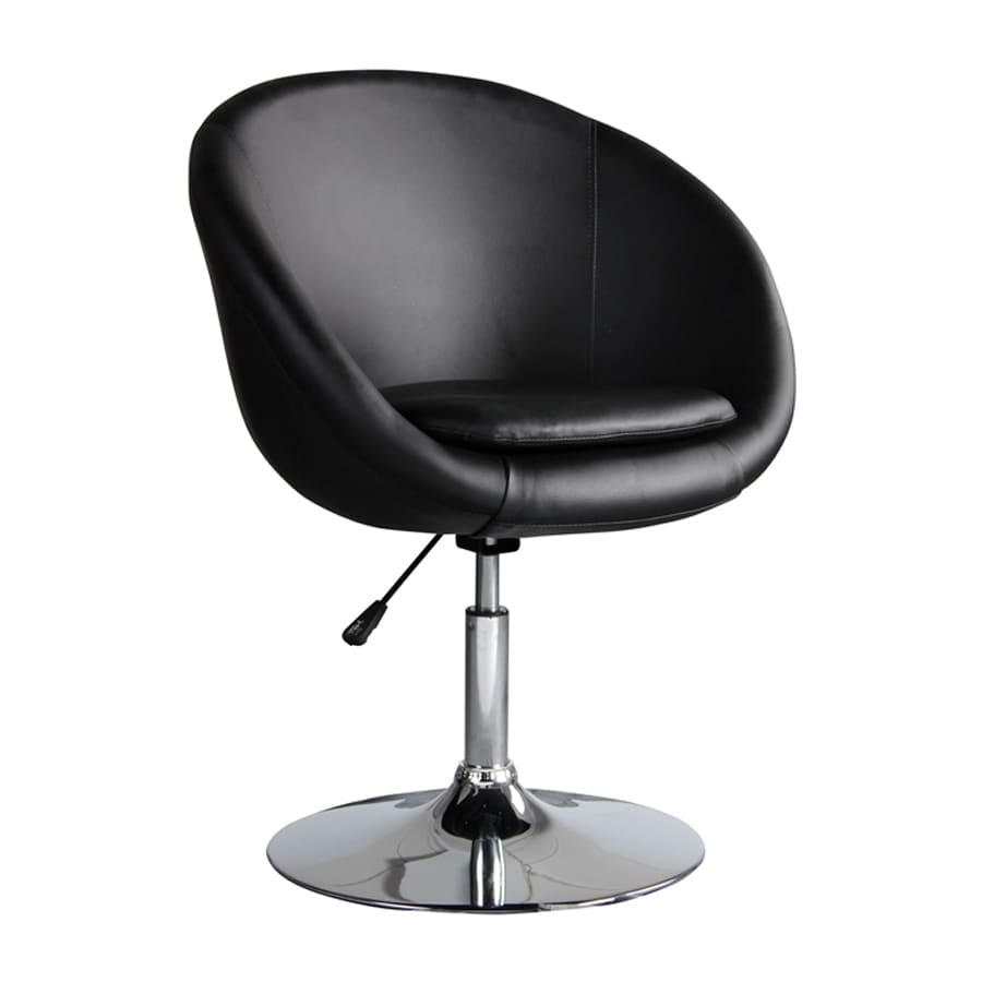 Ceets Barrel Modern Black Faux Leather Accent Chair
