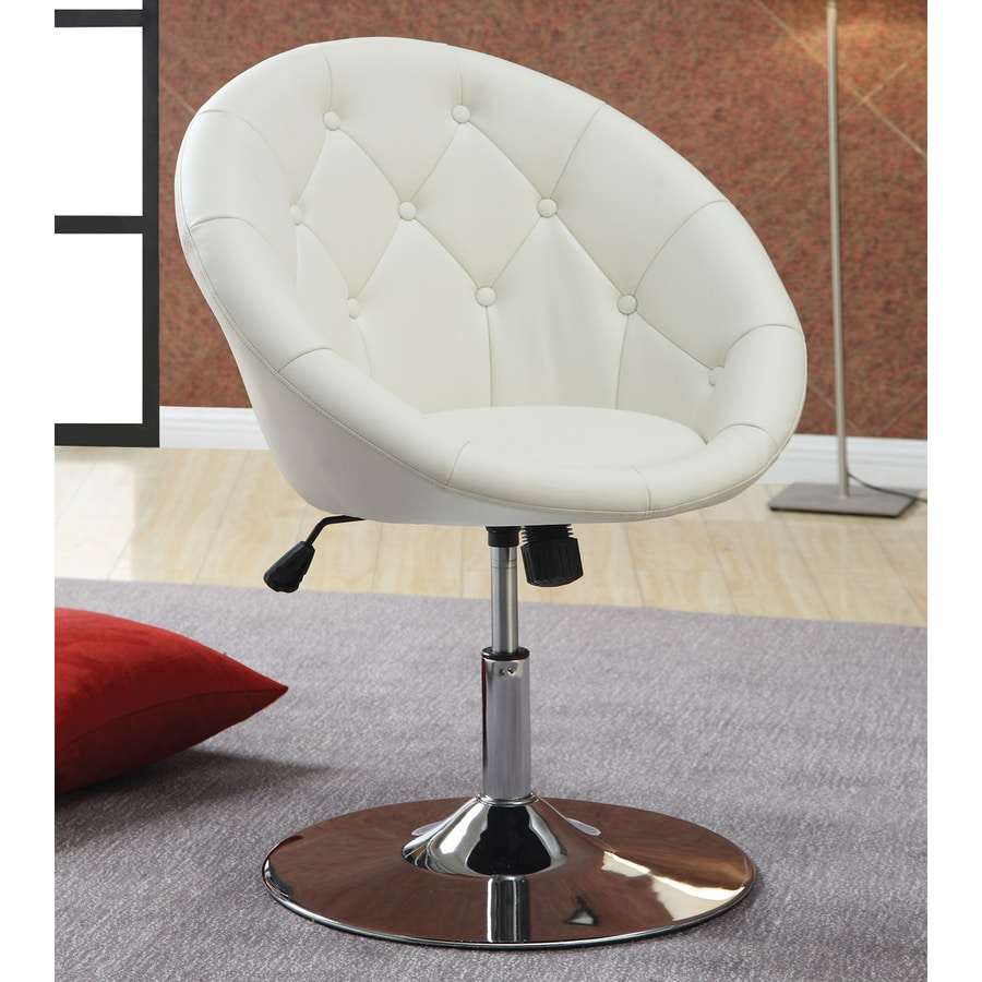 Coaster Fine Furniture Modern White Faux Leather Accent Chair